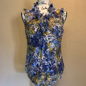 Elle Blue and yellow floral sleeveless top